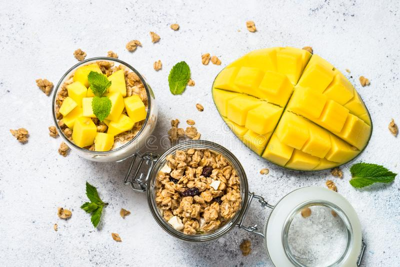 Parfait med bästa sikt för yoghurt, för mango och för granola royaltyfri bild