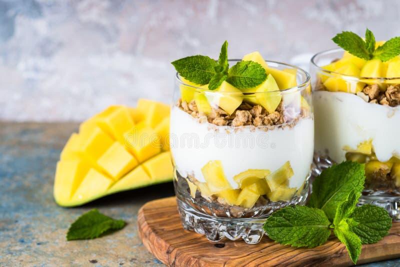 Parfait med yoghurt, mango och granola royaltyfri foto