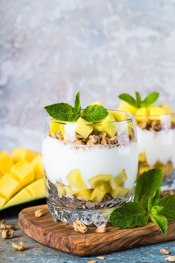 Parfait med yoghurt, mango och granola royaltyfri bild
