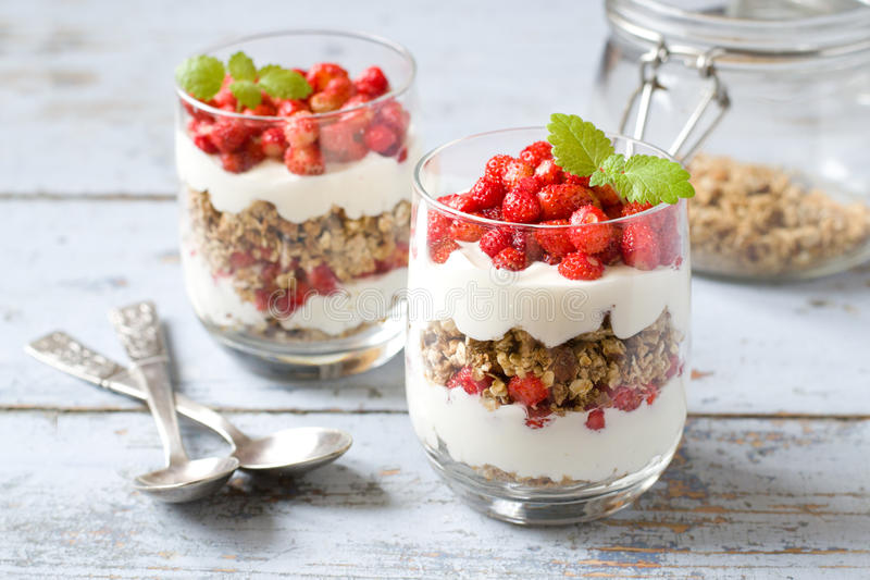 Parfait with wild strawberry stock photography