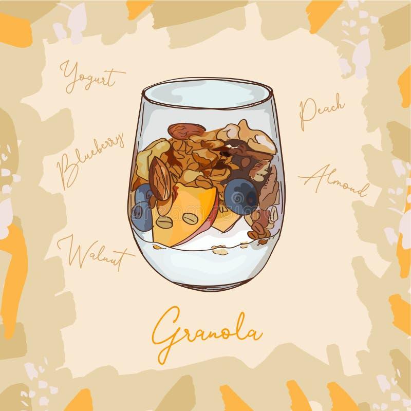 Parfaitnachtisch mit Granola-, Blaubeer-, Pfirsich- und Jogurtskizzenartbild Hand gezeichnete vektorabbildung Lokalisierter Menüe stock abbildung
