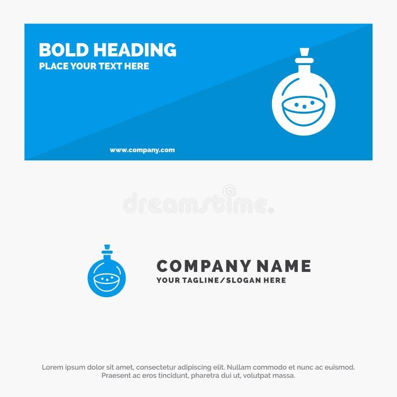 Parfum, bouteille, toilette, bannière solide et affaires Logo Template de site Web d'icône de jet illustration de vecteur