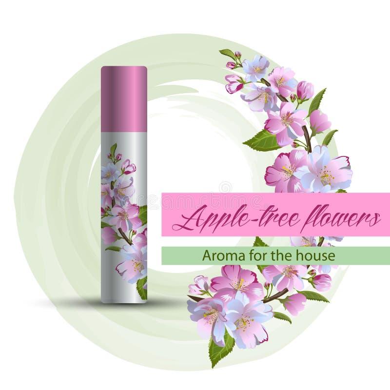 Parfum d'ambiance avec un pommier illustration stock