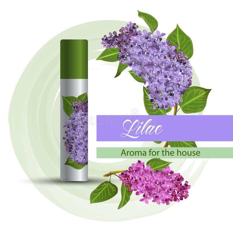 Parfum d'ambiance avec une odeur de lilas illustration de vecteur