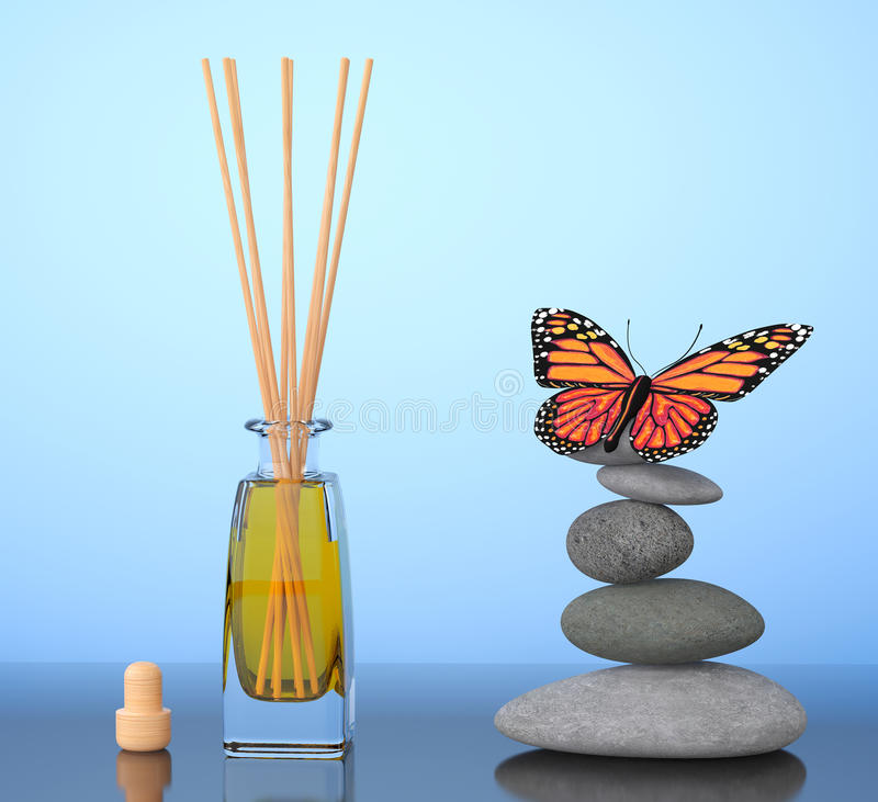 Parfum d'ambiance d'Aromatherapy et pierres équilibrées avec le papillon 3 illustration de vecteur
