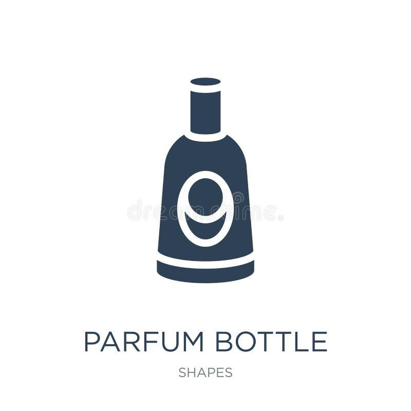 parfum Flaschenikone in der modischen Entwurfsart Parfum-Flaschenikone lokalisiert auf weißem Hintergrund parfum Flaschen-Vektori lizenzfreie abbildung