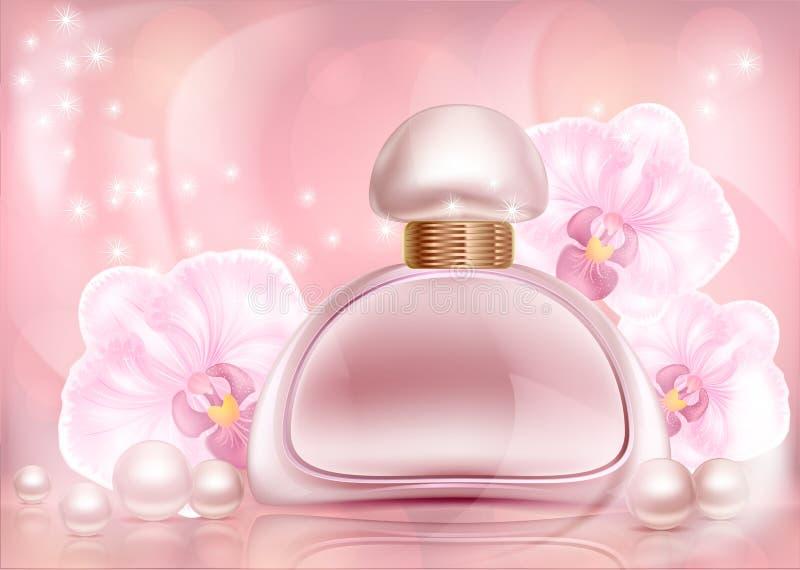 Parfum roze reclamefles met orchideeën en parels met een bloemenornament op een gevormde wijnoogst stock illustratie