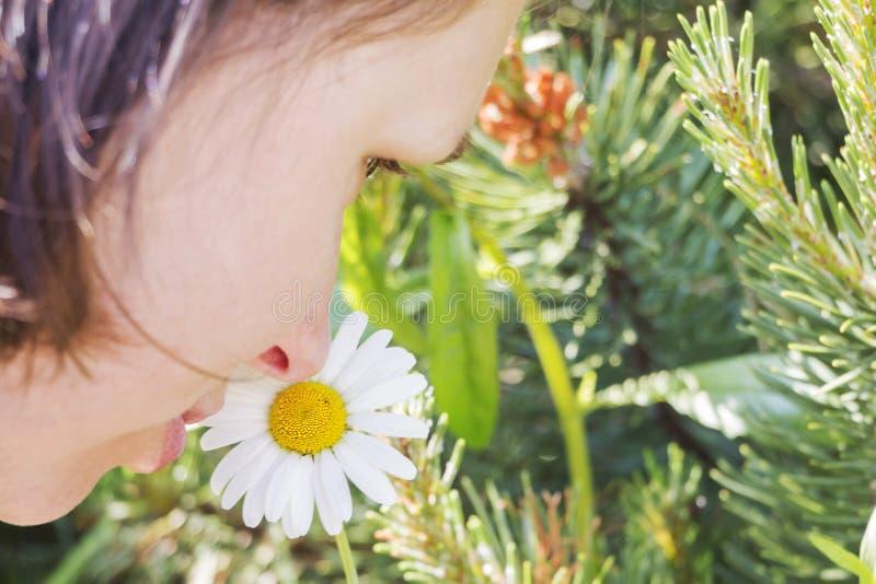 Parfum sensible et beauté naturelle Une femme avec un visage romantique renifle une fleur blanche photos libres de droits