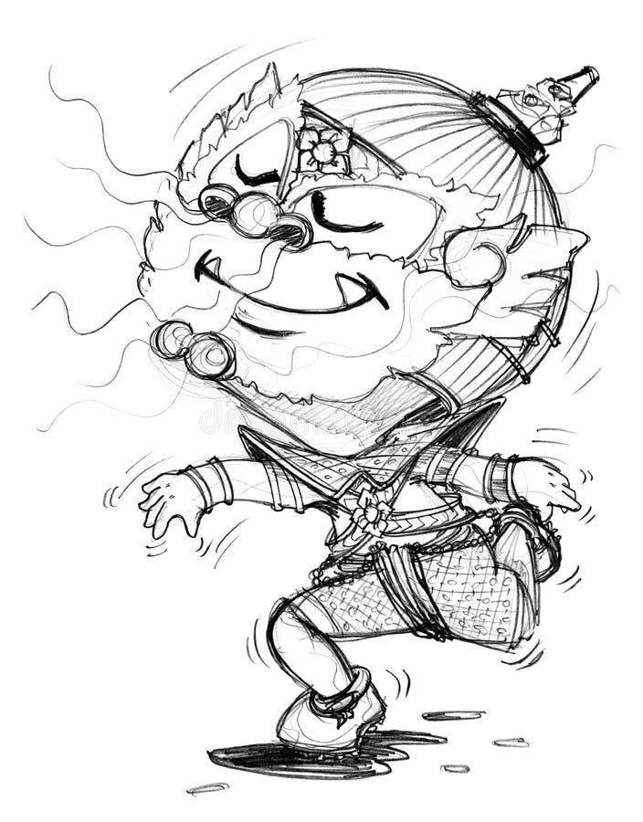 Parfum voluptueux pour suivre l'aspiration temporaire géante thaïlandaise de bande dessinée illustration de vecteur