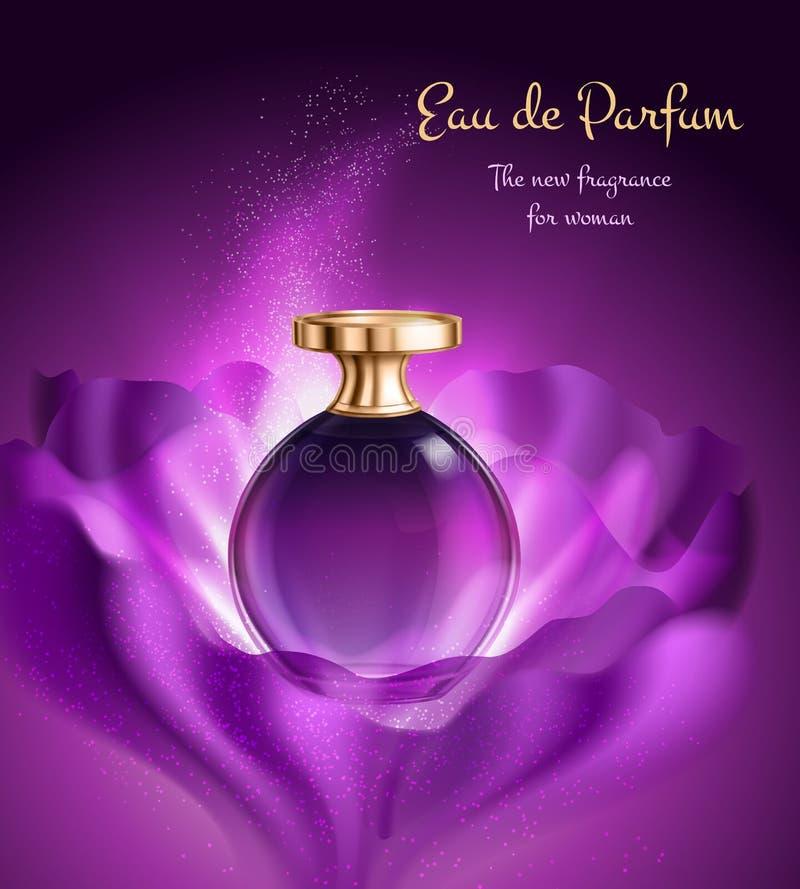 Parfum voor Vrouw Reclamesamenstelling vector illustratie