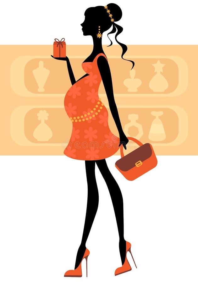 Parfums de achat de femme enceinte de Chic illustration libre de droits