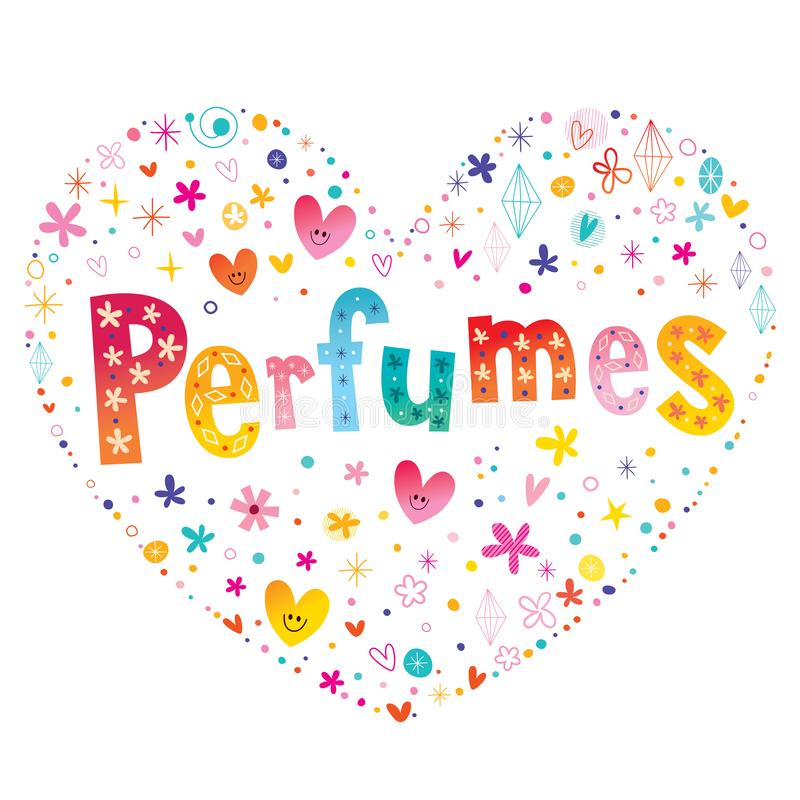 Parfumshart het gestalte gegeven type van letters voorzien vector illustratie