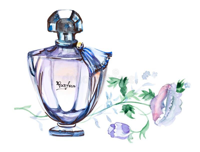 Parfymera flaskan, för modevattenfärgen för handen som den utdragna illustrationen isoleras på en vit bakgrund royaltyfri illustrationer