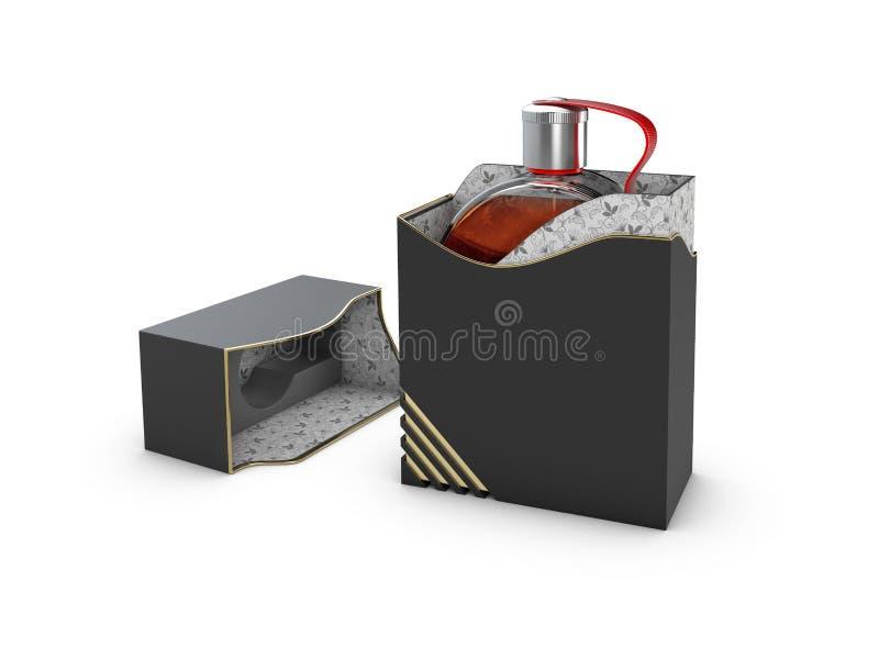 Parfymera flaskan i svartvit ask på vit bakgrund Begrepp av den nya doftbefordran framförande 3d vektor illustrationer