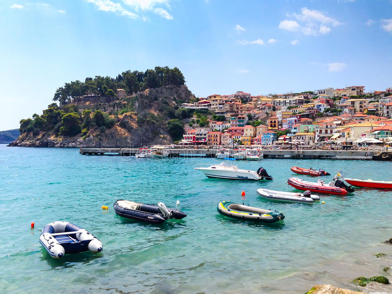 Parga希腊海手段,希腊全景在爱奥尼亚海的 免版税库存图片