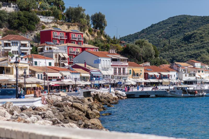 Parga, Greece, 14 October, 2017 Panorama of the center of the town of Parga in Greece. royalty free stock photography