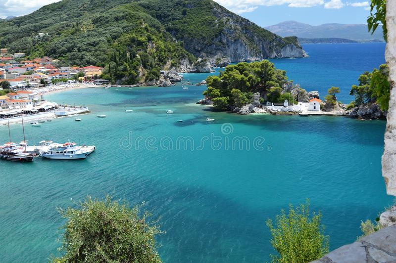 Parga turquoise sea royalty free stock photography