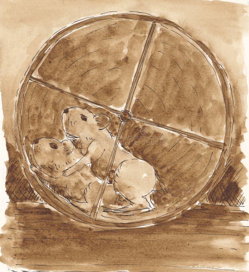 parhamsters som kör hjulet stock illustrationer