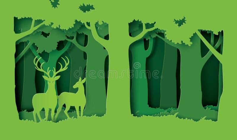 Parhjortar i skogen vektor illustrationer