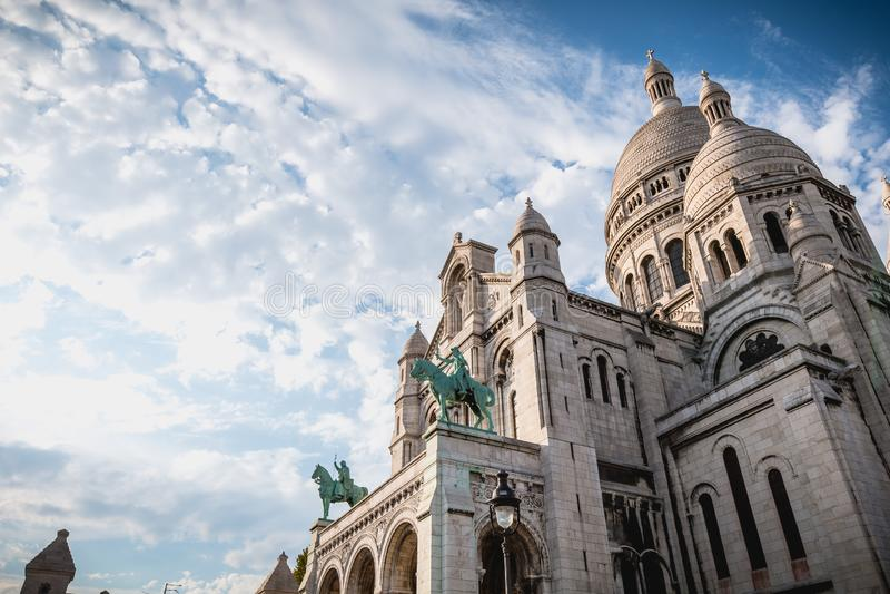 Pari的耶稣圣心的大教堂的建筑细节 免版税库存图片