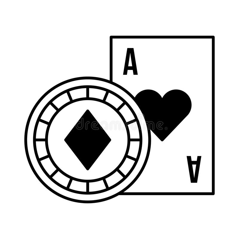 Pari de jeu de casino de puce d'as de carte illustration stock