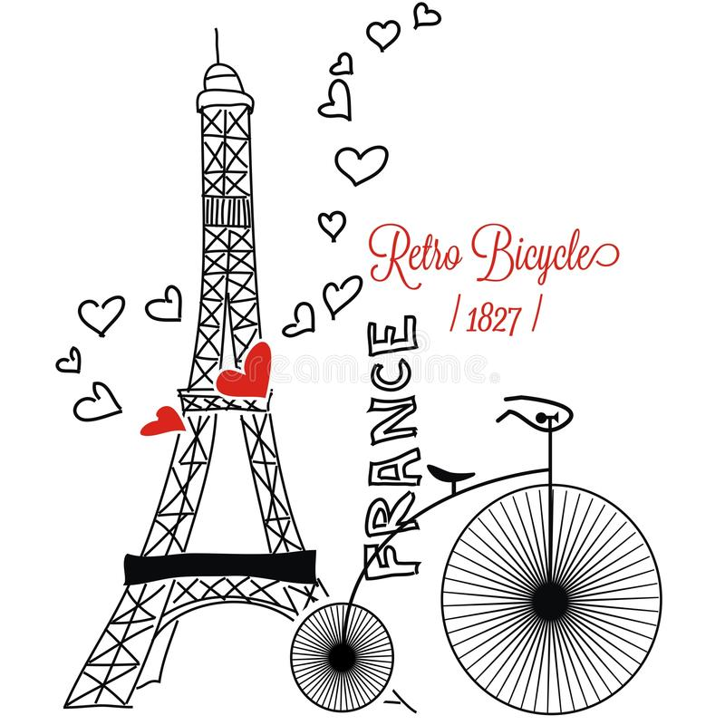 Parigi con retro bycycle Francia fotografia stock