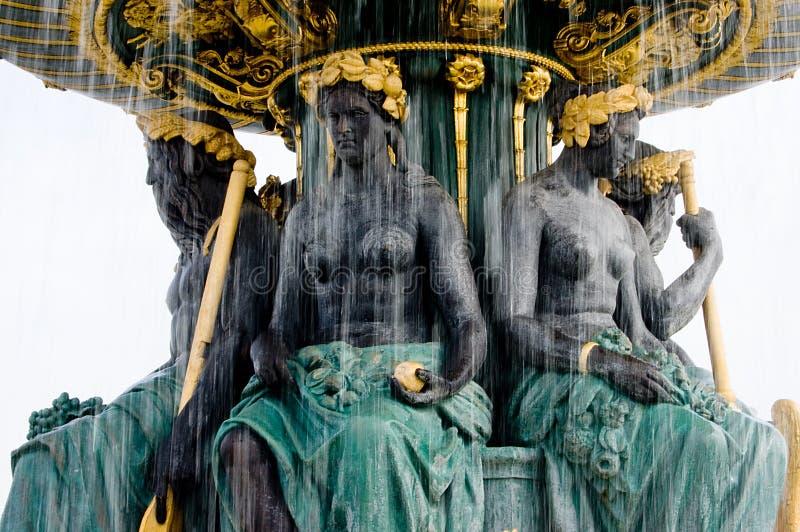 Parigi Fountain Place de la Concorde immagine stock libera da diritti