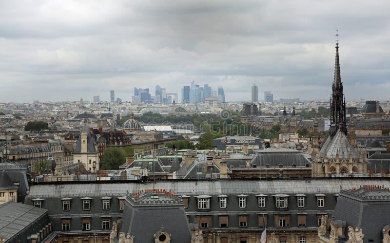 Parigi, Francia - 20 agosto 2018: Panorama della città e della SK immagine stock libera da diritti