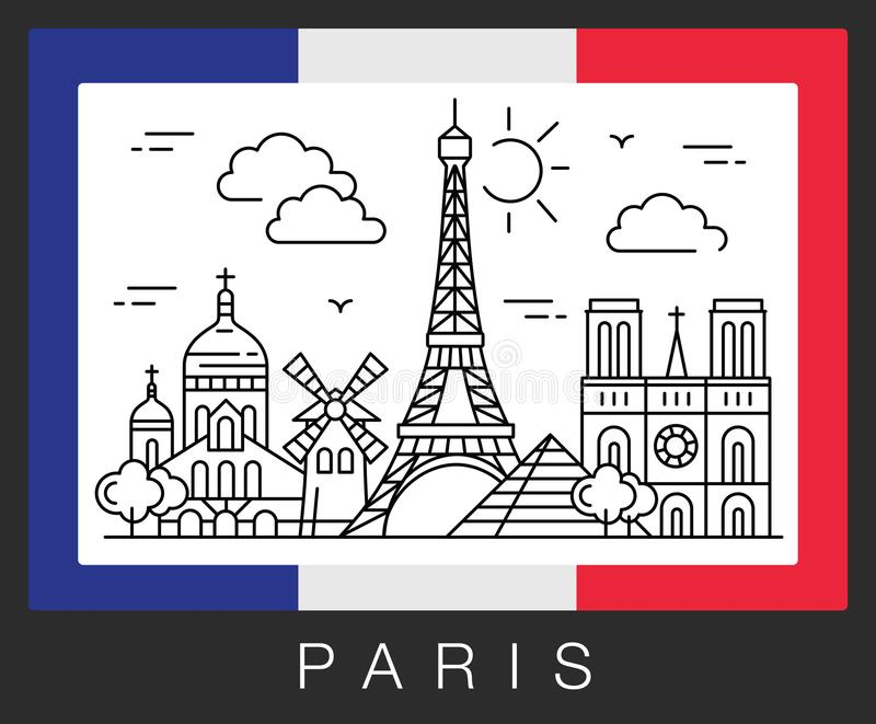 Parigi, Francia Attrazioni della città e la bandiera della Francia illustrazione di stock