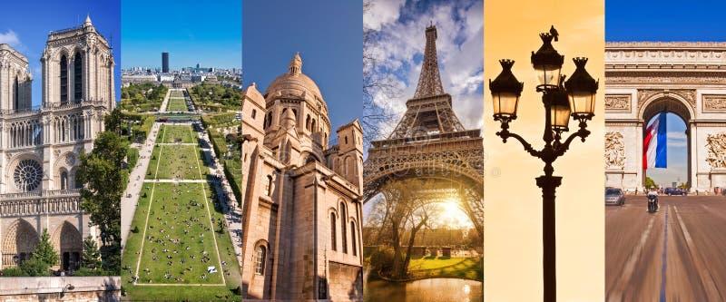 Parigi Francia, collage panoramico della foto, punti di riferimento di Parigi viaggia e concetto di turismo fotografia stock libera da diritti