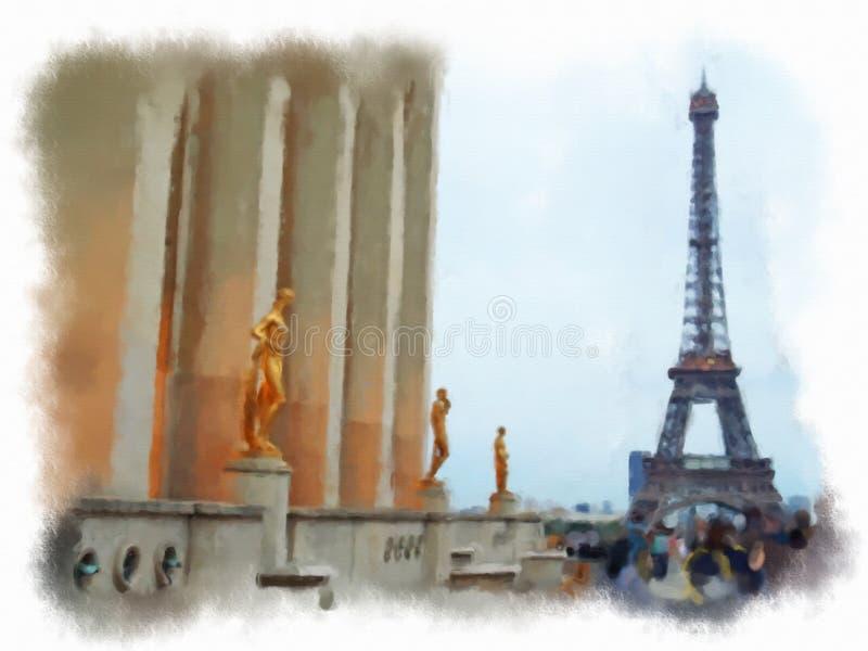 Parigi ha fatto nello stile dell'acquerello fotografia stock