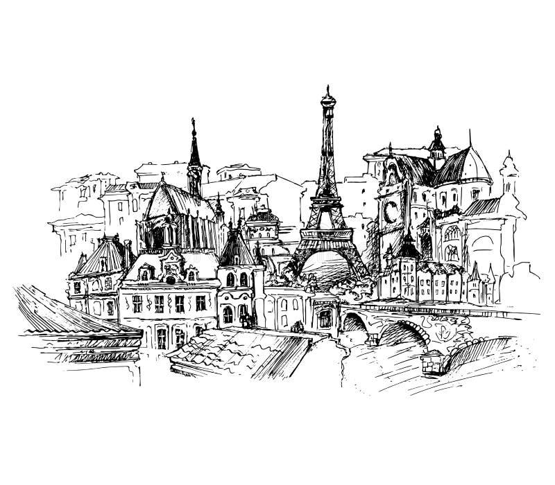Parigi, illustrazione di vettore fotografia stock libera da diritti