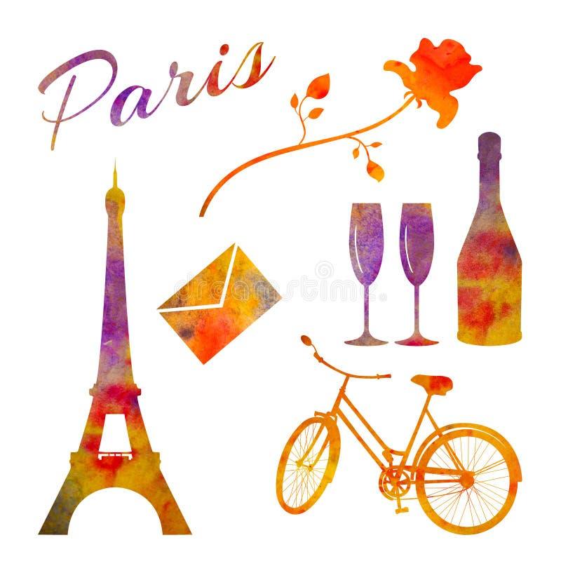 parigi Insieme degli oggetti dell'acquerello La torre, bicicletta, è aumentato, bottiglia ecc illustrazione di stock