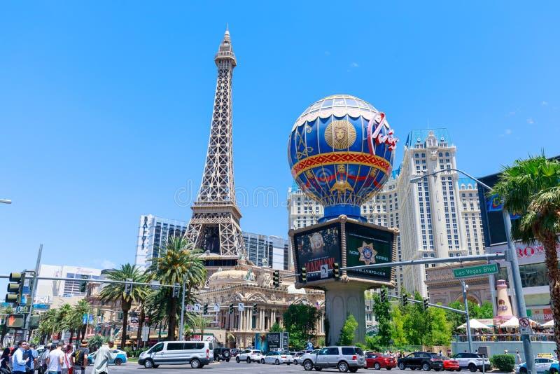 Parigi Las Vegas, che è una località di soggiorno e un casinò di lusso sulla striscia di Las Vegas L'hotel ha tema di Parigi comp fotografia stock libera da diritti