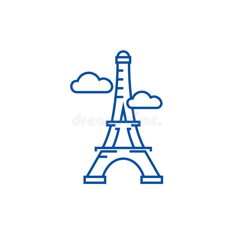 Parigi, linea concetto della torre Eiffel dell'icona Parigi, simbolo piano di vettore della torre Eiffel, segno, illustrazione de illustrazione di stock