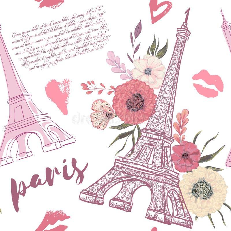 parigi Modello senza cuciture d'annata con la torre Eiffel illustrazione vettoriale