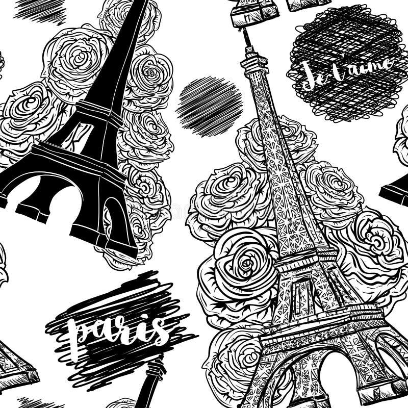parigi Modello senza cuciture d'annata con la torre Eiffel, le rose e gli scarabocchi dell'inchiostro illustrazione di stock
