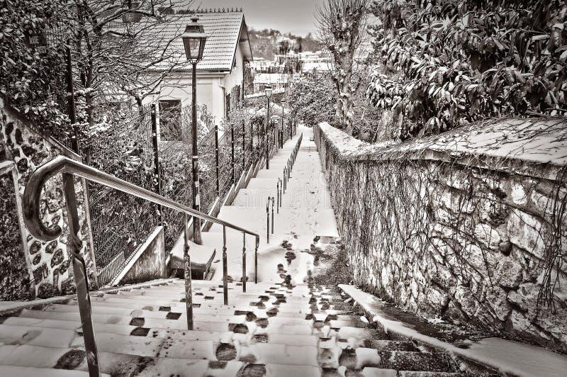 Parigi sotto la neve immagine stock