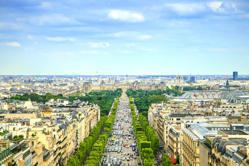 Parigi, vista aerea panoramica di Champs-Elysees. La Francia immagine stock libera da diritti
