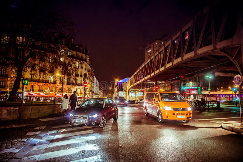 Parijs bij nacht stock afbeelding