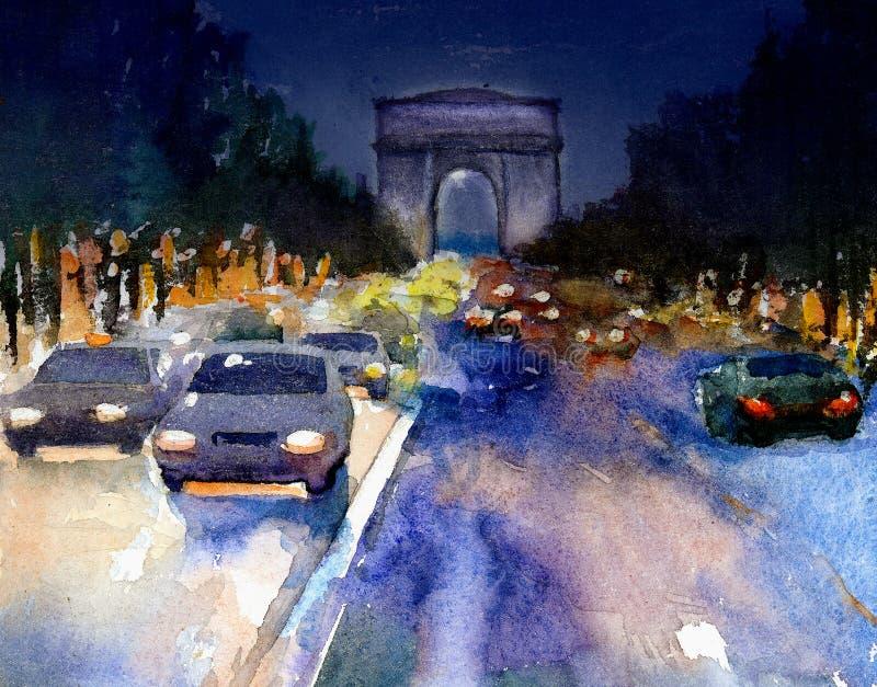 Parijs bij schemer vector illustratie