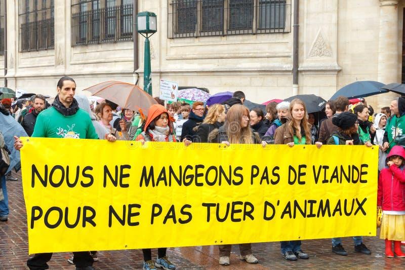 parijs Demonstratie van vegetariërs royalty-vrije stock afbeelding