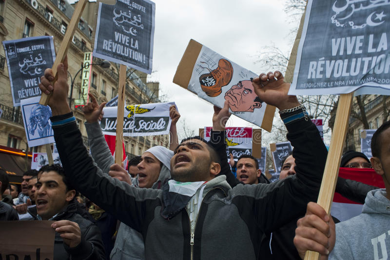 Parijs, Frankrijk, het Egyptische Protesteren van Demonstratiesystemen stock afbeeldingen