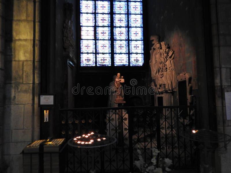 Parijs, Frankrijk - Maart 31, 2019: Wijd geschoten van Notre Dame-kathedraalbinnenland, Parijs, Frankrijk stock fotografie