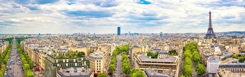 Parijs, Frankrijk Panorama van Arc de Triomphe De Toren van Eiffel stock afbeeldingen