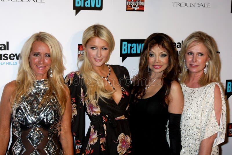 Parijs Hilton, Toya, Kathy Hilton, Kim Richards, La Toya Jackson, LaToya Jackson, Jacksons stock afbeelding
