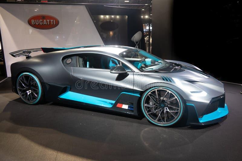 Parijs, Ile de France/Frankrijk - 07 Oktober 2018: De Motorshow Bugatti Divo van Mondialparijs royalty-vrije stock foto's