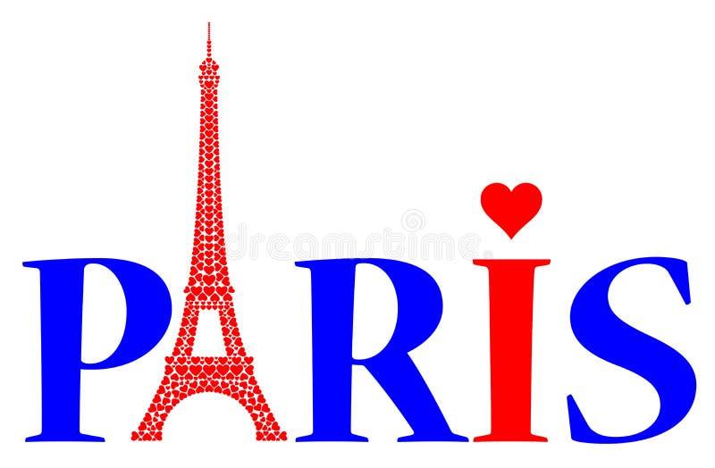Parijs met liefdeharten royalty-vrije illustratie