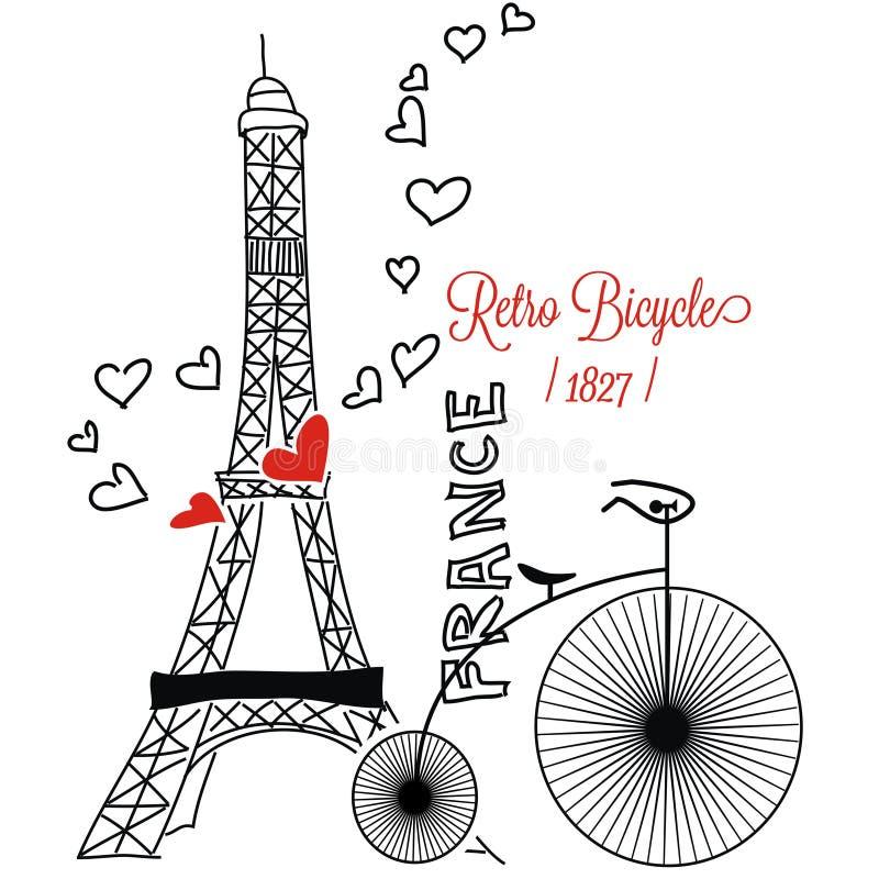 Parijs met retro bycycle Frankrijk royalty-vrije illustratie