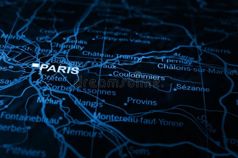 Parijs op kaart stock foto's